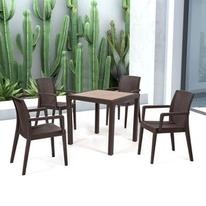 Hpl Dining Table Contemporary Rattan Tempered Gl