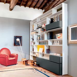 Wall Mounted Bookcase / Floor To Ceiling / Contemporary / Glass