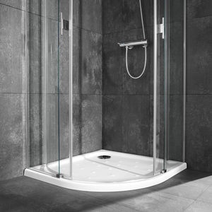 corner shower base porcelain with extraflat drain nonslip