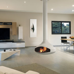 wood burning fireplace contemporary open hearth central - Hanging Fireplace