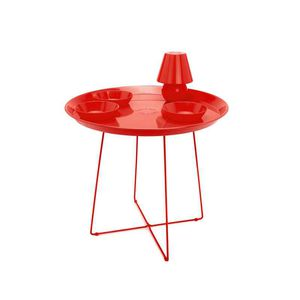 Contemporary Side Table / Metal / Round / Lamp