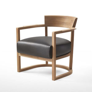 Wonderful Contemporary Armchair / Solid Wood / Fabric / Leather