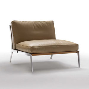 Contemporary Fireside Chair / Fabric / Leather / Metal