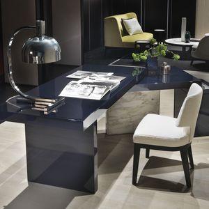 Lacquered Wood Desk / Ash / Ebony / Marble