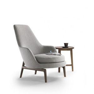 Scandinavian Design Armchair / Leather / Wooden / Fabric