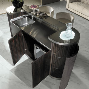 Charmant Contemporary Bar Cabinet / Walnut / Ebony / Metal