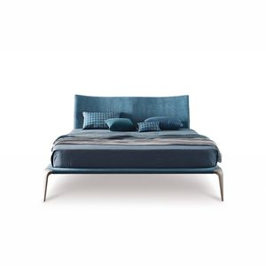 double bed contemporary solid wood fabric