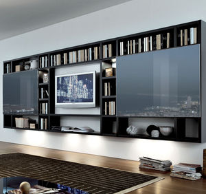 contemporary tv wall unit lacquered wood by mauro lipparini - Design Wall Units