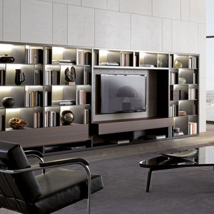 Contemporary TV Wall Unit / Lacquered Wood / Elm / Melamine