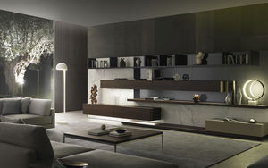 Merveilleux Contemporary Living Room Wall Unit / Lacquered Wood / By Mauro Lipparini
