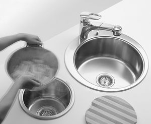 2 bowl kitchen sink stainless steel round - Round Sinks Kitchen