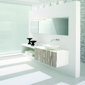 Wall Hung Washbasin Cabinet / Walnut / Glass / Contemporary