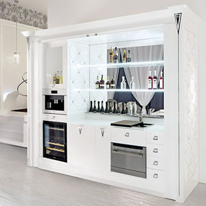 Contemporary Bar Cabinet / Wooden / Glass / Leather