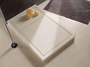 Rectangular Shower Base / Stone / Teak / Stainless Steel