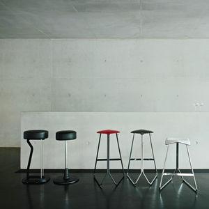 Contemporary Bar Stool / Leather / Steel / Polyurethane