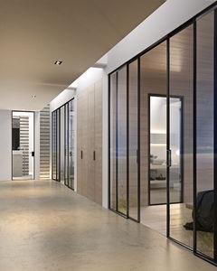 glazed door / indoor / sliding / aluminum & Glazed door - All architecture and design manufacturers - Videos pezcame.com