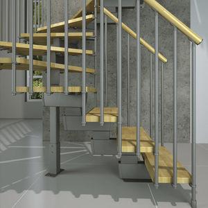 Quarter Turn Staircase / Half Turn / Metal Frame / Wooden Steps