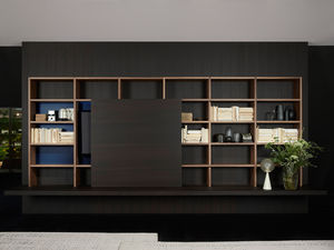 Contemporary Bookcase For Offices Lacquered Wood Aluminum