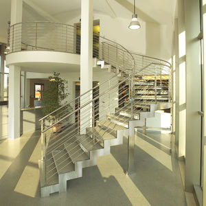 Incroyable Half Turn Staircase / Circular / Stainless Steel Frame / Wooden Steps