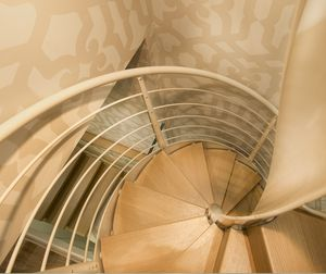 Spiral Staircase / Stainless Steel Frame / Wooden Steps / Glass Steps