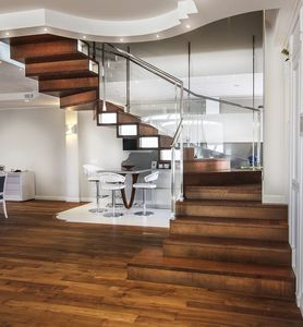 Half Turn Staircase / Circular / Wooden Frame / Wooden Steps