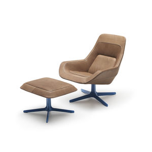 Charmant Contemporary Armchair / Leather / With Footrest / Swivel