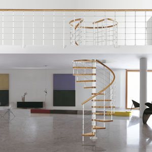Attrayant Spiral Staircase / Steel Frame / Wooden Steps / Without Risers