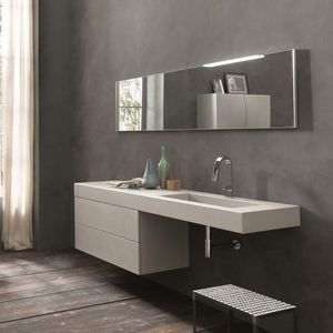 Exceptionnel Wall Hung Washbasin Cabinet / Cement / Contemporary / With Mirror