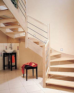 Marvelous Half Turn Staircase / Wooden Frame / Wooden Steps / Without Risers