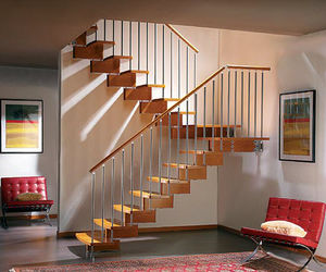 Gentil Half Turn Staircase / Wooden Frame / Wooden Steps / Without Risers