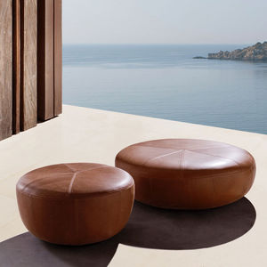 Contemporary Pouf / Sunbrella® / Leather / Round