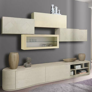 Contemporary Living Room Wall Unit / Wooden / Lacquered Wood