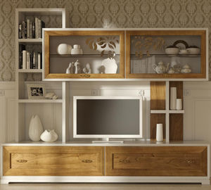 Classic TV Wall Unit / Wooden / Lacquered Wood / Glass