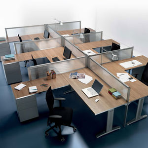 Floor Mounted Office Divider / Countertop / Fabric / Glass