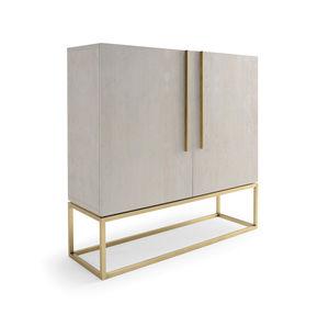 Charmant Contemporary Bar Cabinet / Oak / Polished Brass