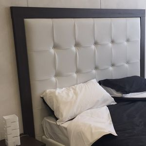double bed headboard wooden leather