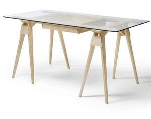 wooden desk / glass / Scandinavian design / commercial