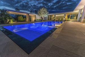In Ground Swimming Pool Concrete Overflow Custom Piscine A