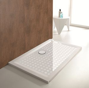 rectangular shower base cast with extraflat drain barrierfree