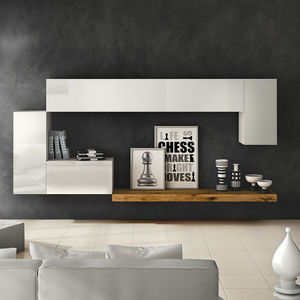 Contemporary Living Room Wall Unit / Lacquered Wood Part 69