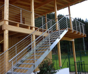 Nice Straight Staircase / Glass Steps / Stainless Steel Frame / Without Risers