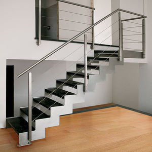 Straight Staircase / Stainless Steel Frame / Stone Steps / Without Risers