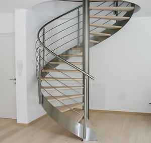 Spiral Staircase / Wooden Steps / Stainless Steel Frame / Without Risers