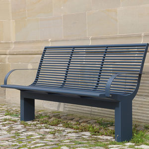 public bench contemporary stainless steel with backrest - Garden Furniture Lebanon