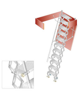 Aluminum Ladder / Retractable / Accordion Protection / For Roof Hatches