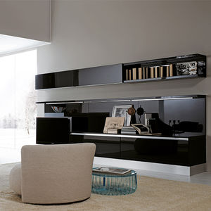 contemporary tv wall unit lacquered glass - Design Wall Units