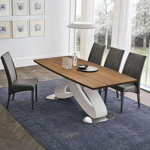 Contemporary Table / Wood Veneer / Metal / Polyurethane