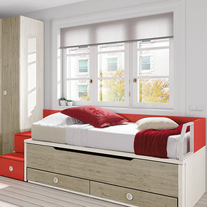 pull-out bed / single / contemporary / with wardrobe