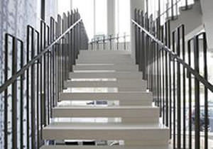 Straight Staircase / Concrete Steps / Metal Frame / Without Risers