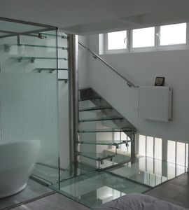 Square Spiral Staircase / Helical / Stainless Steel Frame / Glass Steps